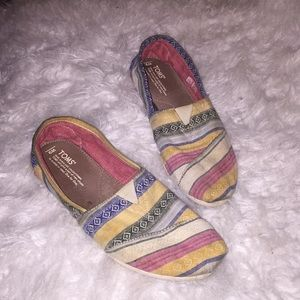 TOMS multi color striped flats.